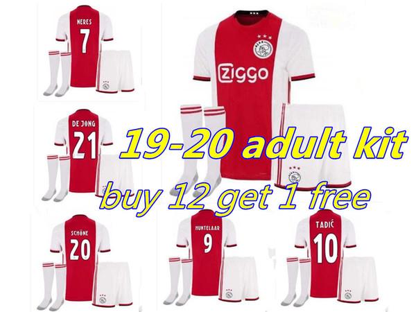 2019 2020 Ajax FC adult KIT 19 20 soccer Personnalisé DE LIGT ZIYECH NERES TADIC HOMME rouge Maillot de foot shorts chau
