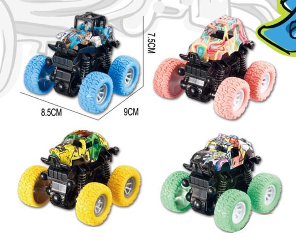 8 renkler Graffiti dört çeker koca ayak off-road araç sınır ötesi bebek şoku atalet şok off-road araç çocuk SUV oyuncak soğurucu