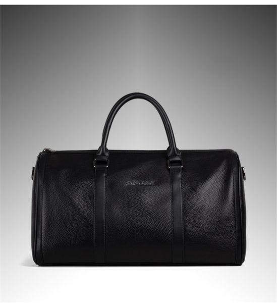 Bolsa de viaje de los hombres de cuero genuino de la moda Equipaje Bolsa de viaje de los hombres Llevar en el bolso de fin de semana Duffel de cuero Bolso de mano grande negro