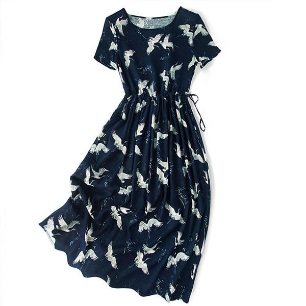 2019 New summer rope belt short sleeved large skirt flying bird printing mulberry silk silk dress