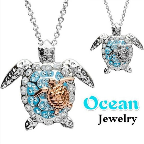 blaike 925 sterling silver filled pendant necklace for women exquisite ocean turtle zircon necklace wedding party jewelry gifts