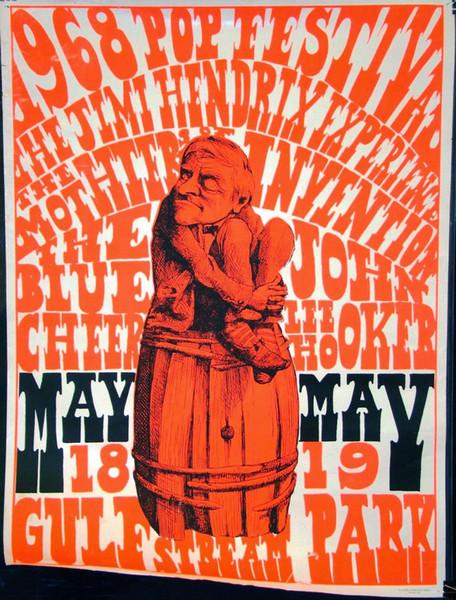 1968 Pop Festival Jimi Hendrix Room wall Art Silk Poster 24x36inch 24x43inch