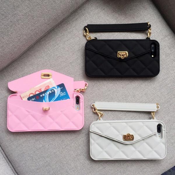 Caso do iphone x, para o iphone 6 6 s 7 8 plus x phone case nova moda suave silicone cartão saco de fecho de metal mulheres bolsa bolsa capa com corrente