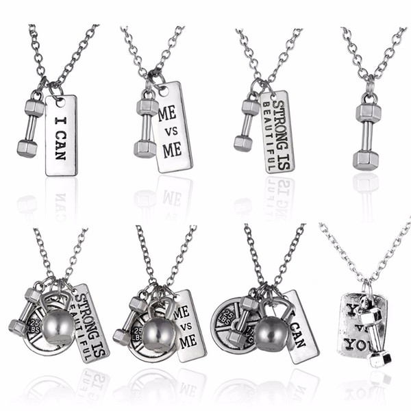 Fitness Gym Pendant Jewelry Lover Friend Bodybuilding Necklaces Men Women Sport Kettlebell Barbell Dumbbell DIY Necklace Collier