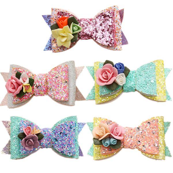 Girl Bow Stereo Flower Barrettes Fashion Princess Sequined Hair Clip Cute Children Party Headwear Kids Hair Accessories TTA786
