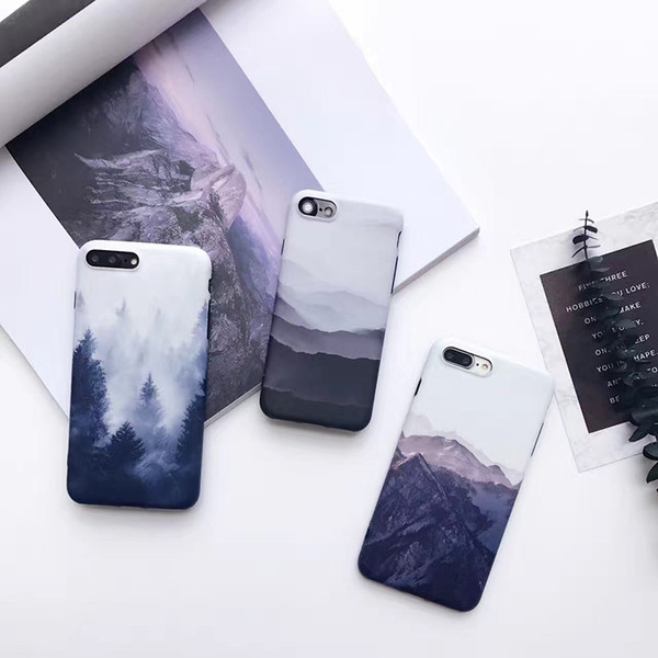 Soft Landscape scenery painted case for iPhone X 8 7 6 6S Plus Forest mountain Case back cover For iphone 6 Plus