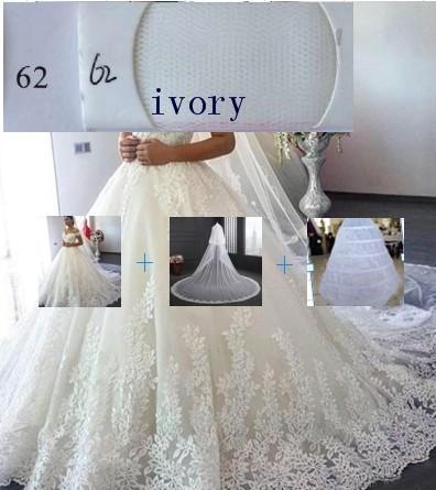 (Elfenbein) Kleid + Petticoat + Schleier
