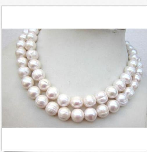 """HUGE AAA 35"""" 11-12MM SOUTH SEA WHITE BAROQUE PEARL NECKLACE 14K GOLD CLASP"""