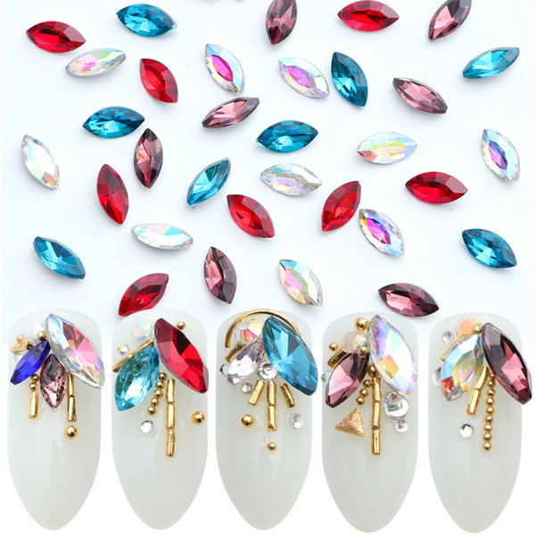 20pcs Crystal Nail Rhinestone Decorations Charm Horse Eye Clear AB Blue Strass for DIY Nail Gem Bead Manicure Accessories JI089