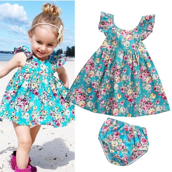Cute Toddler Baby Girl Summer Clothing Ruffle Floral Sleeveless Dress Sundress Briefs Bottoms Two Piece Outfits Set