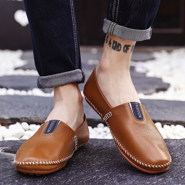Мужские Мокасины Мужчины Повседневная Кожаная Обувь Бренд Мокасины Мужская Обувь Весна И Осень Скольжения На Моды Дышащий zapatos hombre # y4