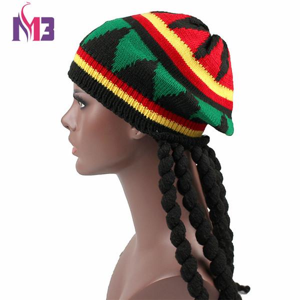 New Casual Men Women Rasta Knit Hat Fancy Dress Party Hippie Beret Dreadlocks Wig Jamaican Bob Marley Hat