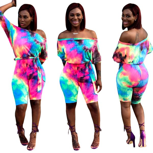 Women tie dyed Jumpsuits Rompers Slash Neck Long Sleeve Shorts One Piece Overalls Colorful off shoulder Bodycon Pant playsuit LJJA2554