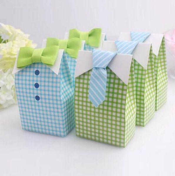 Blue Green Cute Plaid Shirt Tie Bow Wedding Favors Baby Shower First