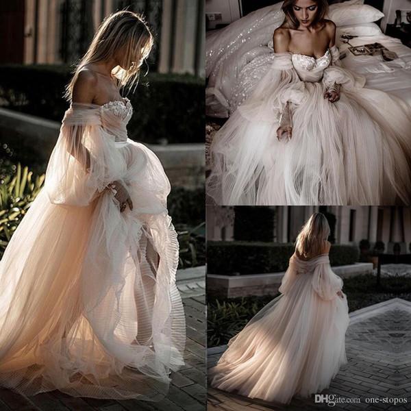 Çarpıcı Tam Tül Etek Gelinlik 2019 romantik Fener Kol Masal Kırsal Gelin Gelinlikler vestidos