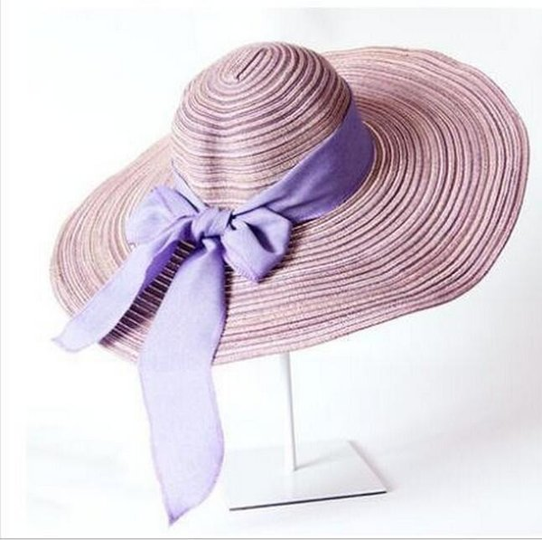 Women's Summer Casual Big straw Bow hat Bone Snapback Hats Breathable sunscreen cap seven colorsD7001