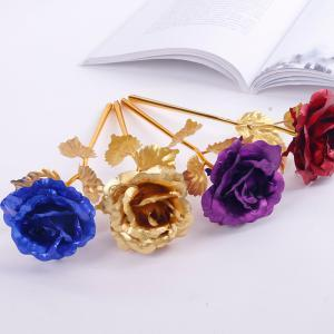 Gold Foil Plated Rose Gold Leaf Rose Wedding Supplies Valentine's Day Birthday New Year Gifts Sets Decorative Flowers Party Decor GGA1525