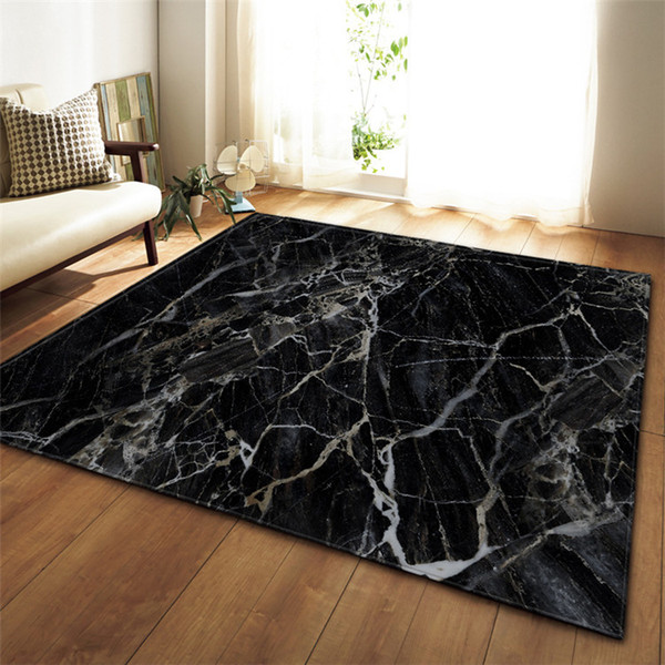 Black White Marble Printed Large Carpet For Living Room Anti Slip
