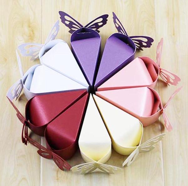 2019 Rot, lila, pink, weiß, Champagner, milchig weiß Dreieck Schmetterling Papier Süßigkeiten Schokolade Geschenkbox für Hochzeit Geburtstagsparty Cake Box