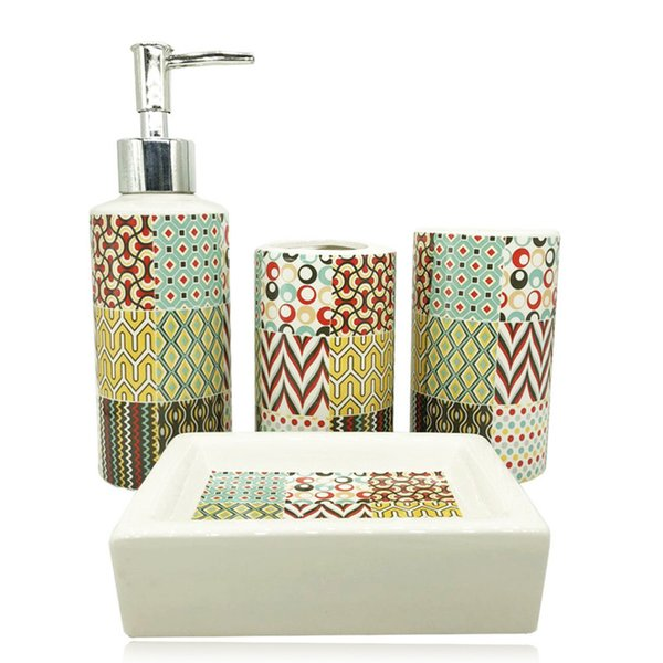 4 Pieces / Artificial Stone Ceramic Bath Set Makeup Set Home Decoration Ideas Bathroom Toothbrush Holder Bathroom Accessories Y19061804