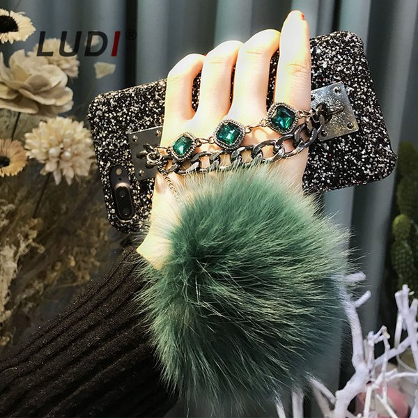 wholesale High Quality Diamond Case For iPhone X 8 7 6 6s 6/7plus Fox Fur Pompom Furball Chain Back Case bling Cases Cover Capas