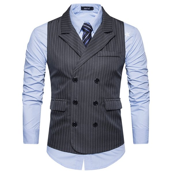 Autumn and Winter Foreign Trade Sources European Code New Men's Suits Vest Striped Double-breasted Vest M29