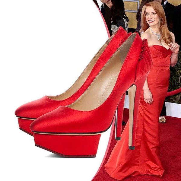 European and American stars have the same banquet shoes super high heels waterproof platform single pointed shoes female satin face fine hee