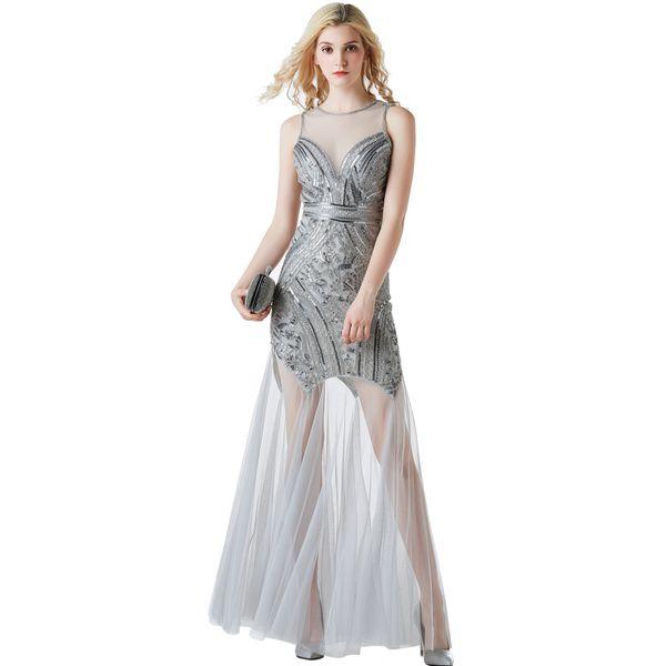 7226d577069 2019 paillettes longue robe de soirée soirée formelle cocktail Vintage robe  de bal robes de demoiselle