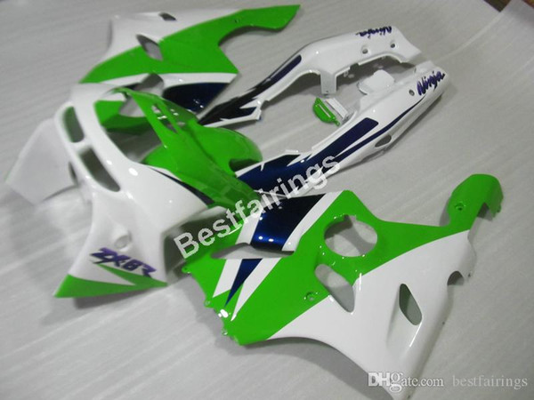 High quality plastic fairing kit for Kawasaki Ninja ZX6R 1994 1995 1996 1997 white green fairings set ZX6R 94 95 96 97 MT05