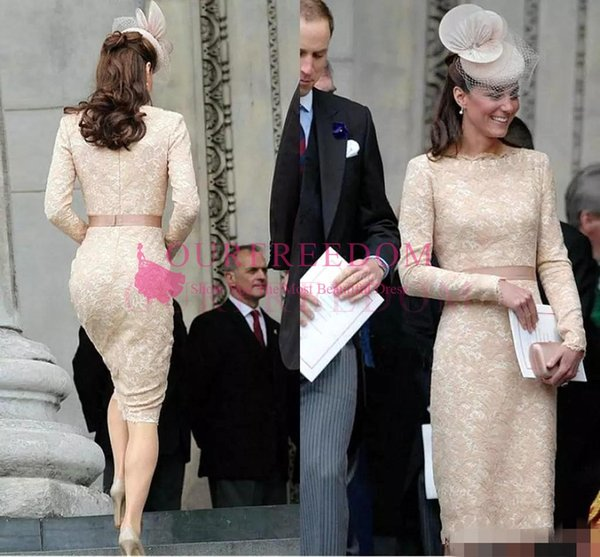 Elegant Kate Middleton Champagne Short Evening Dresses for Women Wear Knee Length Lace Long Sleeve Celebrity Cocktail Formal Gowns