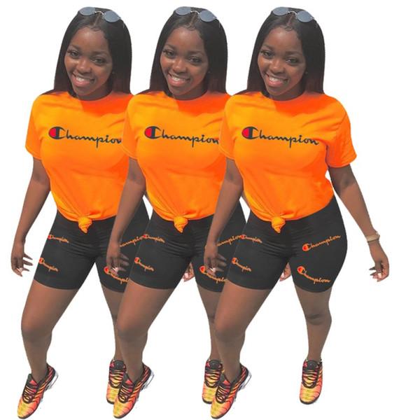 Женская одежда с короткими рукавами 2 шт. Набор сексуальные буквы вышивка спортивные костюмы шорты толстовка бег трусцой спортивный костюм