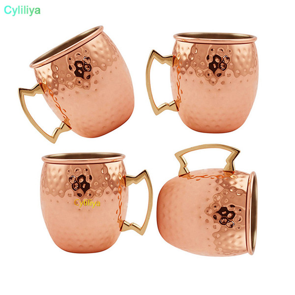 16 oz Tazas de cobre Moscow Mule Tazas de cobre plateado taza Acero inoxidable martillado Cobre Tambor Cóctel Copa Copas con asas
