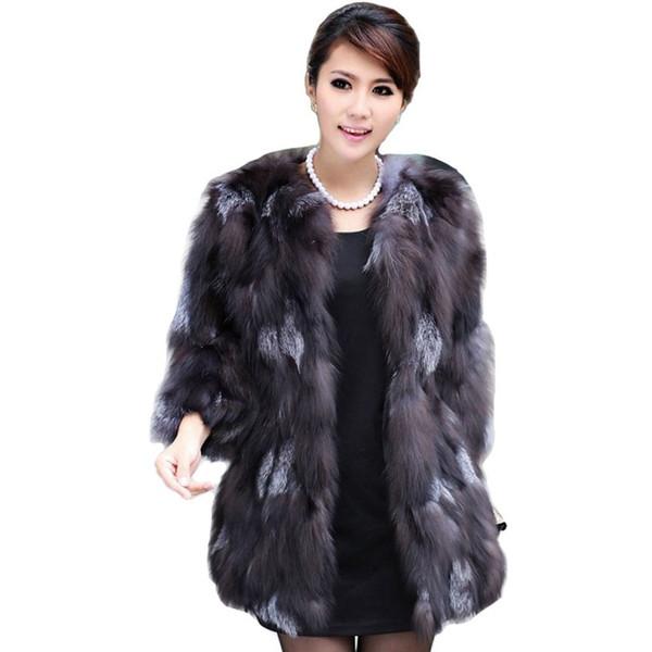 Lüks Lady Orijinal Gerçek Fox Kürk Ceket 3/4 Kollu Kış Kadın Kürk Kabanlar Palto Siper Palto Giyim VK3028