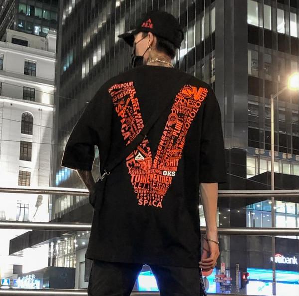 Hiphop Mens Camisetas Casual V Impresso POP Camisas de Mangas Curtas Big V Adolescente Solto Tees Moda Top Roupas Masculinas