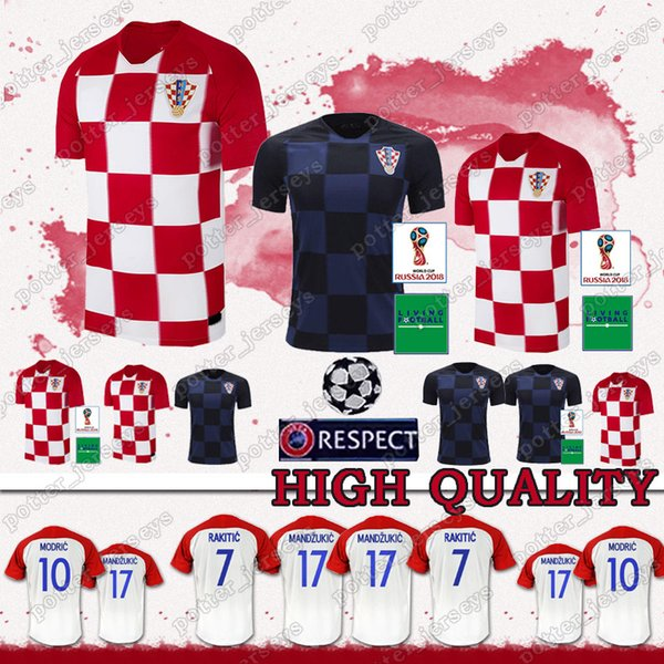 vente à bas prix 2018 de la Coupe du monde de football Jersey Conçu MODRIC PERISIC RAKITIC Mandzukic SRNA Kovacic KALINIC Hrvatska football shirt de promotion