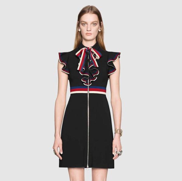 2019 새로운 디자이너 실비아 시리즈 의류 스트라이프 리본 드레스 여성용 허리 슬림 맞는 대비 프릴 바지 타이 민소매 드레스