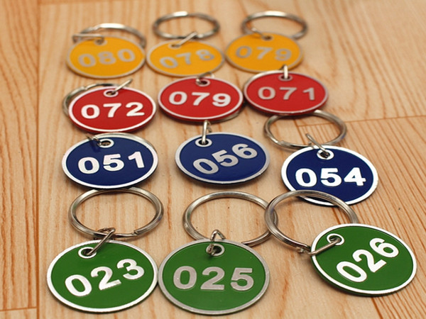 top popular 100pcs New pattern Aluminum Alloy Metal Sign Keychain Signage With Ring Digital Label Tag Number Card Plate With Key Chain 2019