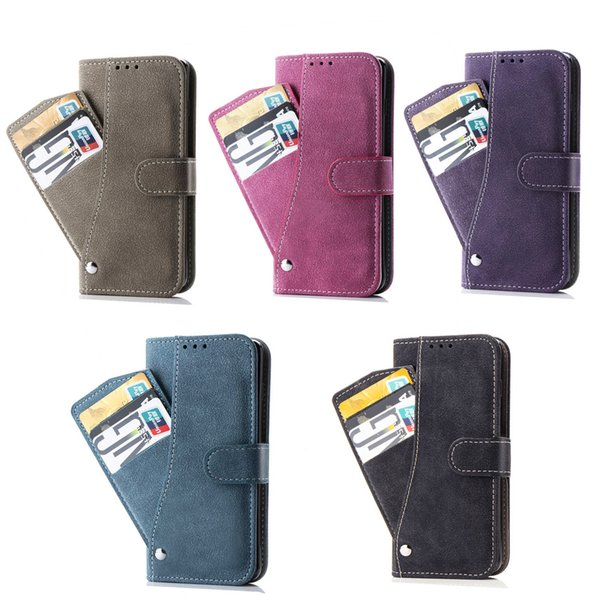 For Samsung Galaxy S10 Case Cover Phone Stand with Rotated Wallet Card Money Holder Anti-skid Rough Surface