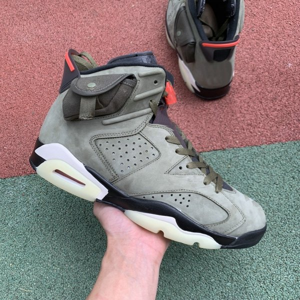 New Travis Scott x 6 Cactus Jack 6s Men Basketball Sports Shoes Medium Olive GLOW IN THE DARK Army Green Trainers Sneakers size 7-13