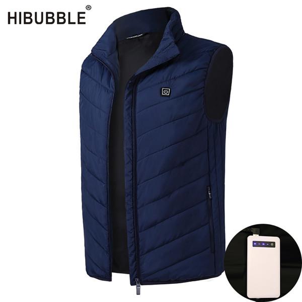 Kış yelek erkekler Güç Bankası Elektrikli Isıtma Bel ceket Termal Sıcak Giyim Tüy Moda Isıtmalı Ceket Plus Size Erkekler Yelek