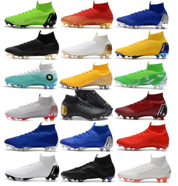 2019 Nuevos Hombres Mercurial Superfly VI 360 Elite Ronaldo FG CR Zapatos de fútbol Copa Mundial Chaussures Botas de fútbol Tobillo de fútbol de tobillo alto