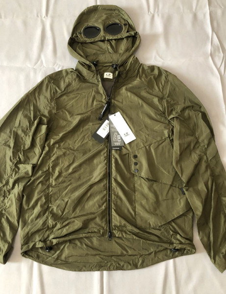 best selling Metal nylon two glasses GOGGLE men jacket casual CP COMPANY hoodies outdoor windbreak black army greensize M-XXL