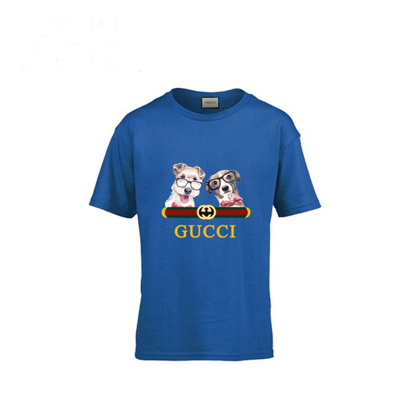 New Pattern Cartoon Pure Cotton Children Dog Short Sleeve T T-shirt In Large Child Stripe Male Girl