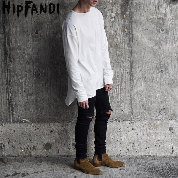 2018 Hipster Men Justin Bieber Clothes Streetwear Brand Clothing Kanye West Long Sleeve Plain Extended Curved T Shirt C19040301