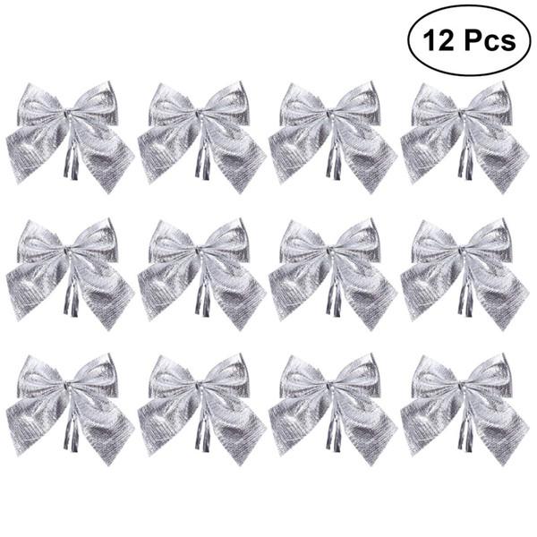 12pcs glitter bowknots christmas tree ornaments pendant xmas hanging decor adornments holiday home party supplies (silver) a20