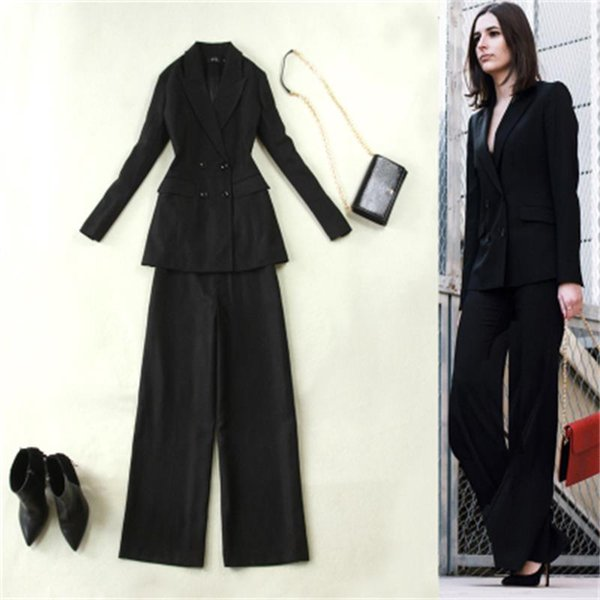Fashion Suit Suits female Autumn/Spring New British Style Wool thick double-breasted long suit wide-leg pants women