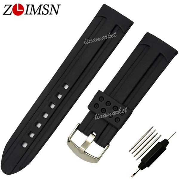 ZLIMSN Promotion 22 24mm Black Sport Watchbands Waterproof Diving Silicone Rubber Digital Watch Bands Strap Bracelets