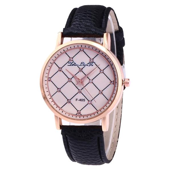GENBOLI Women Quartz Watch Rhinestone Lattice Painting Print Litchi Pattern Leather Strap Round Dial Watches Exquisite Business