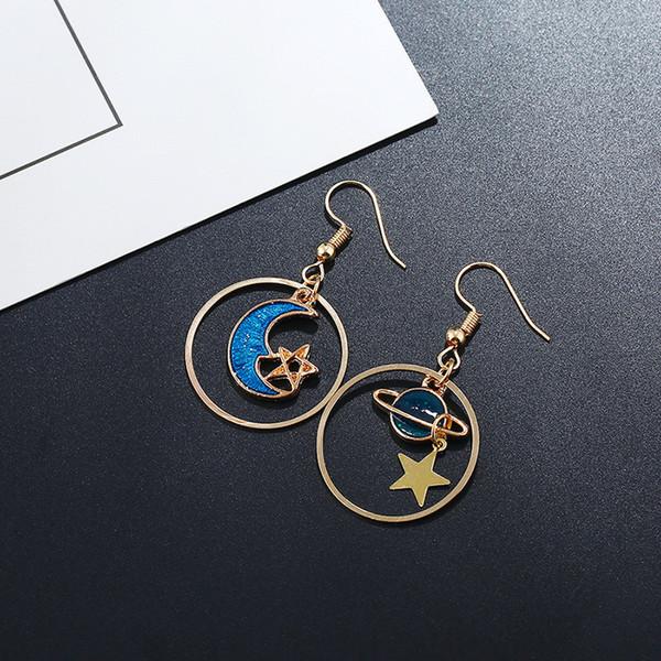 Enamel Moon Star Earth Planet Drop Hook Earrings Long Pendant Dangle Jewelry for Woman Girls