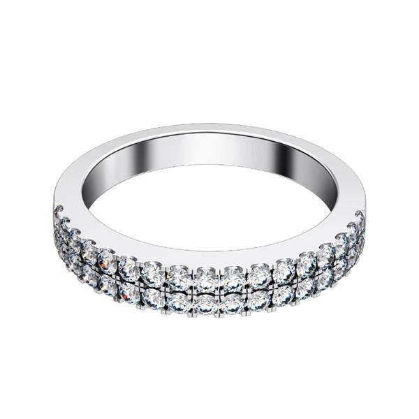 Großhandel Ausgezeichnetes Design Schöne Synthetische Diamant Hochzeit Weibliche Band Ringe 925 Sterling Silber Ring Weißes Gold überzogene